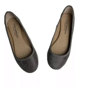 Lucky Brand Distressed Look Gray Leather Flats